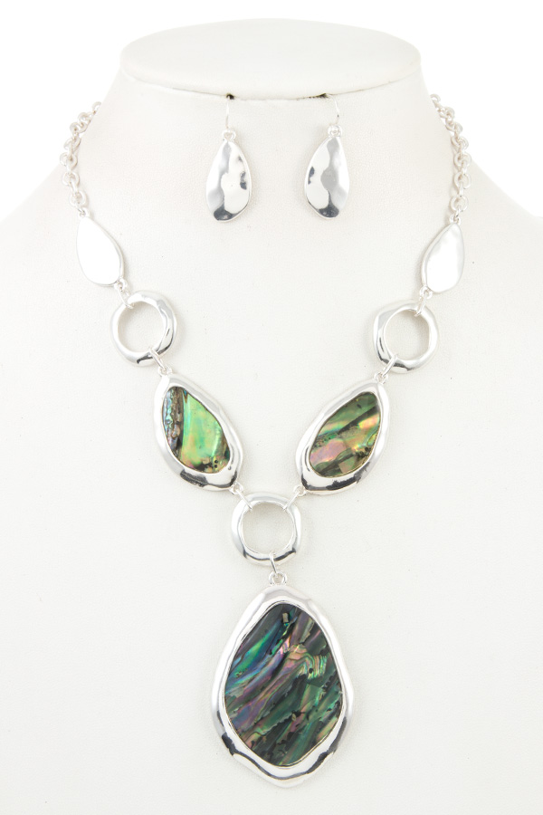 Silver Tone Abalone Necklace Set