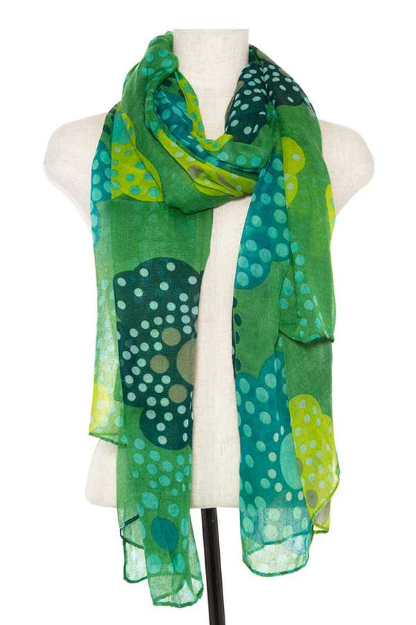 POLKA DOTTED FLOWER PATTERN OBLONG SCARF