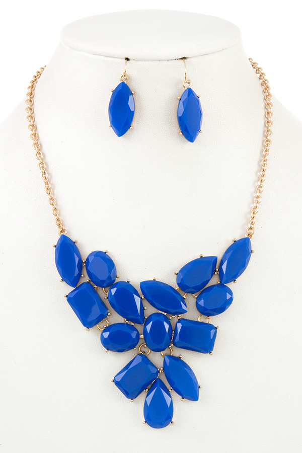 Faceted Gem Link Bib Necklace Set