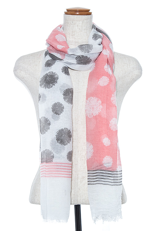 Floral Print Two Tone Oblong Scarf