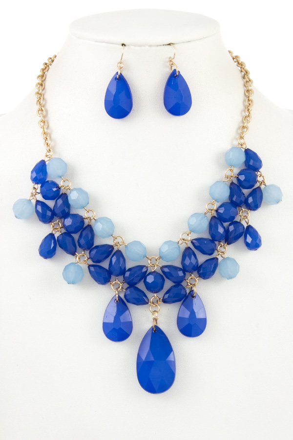 CLUSTER TEARDROP FACETED BALL BEAD NECKLACE SET