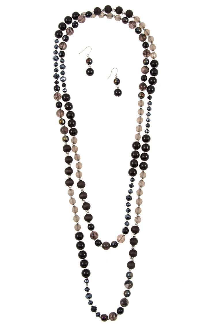 Elongated Mix Bead Single Strand Necklace Set