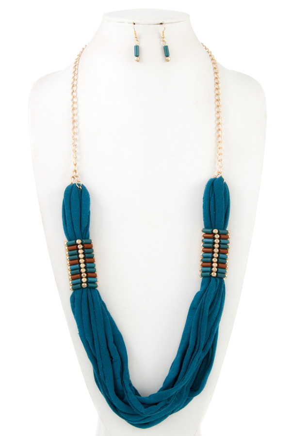 Beads Accent Fabric Necklace Set