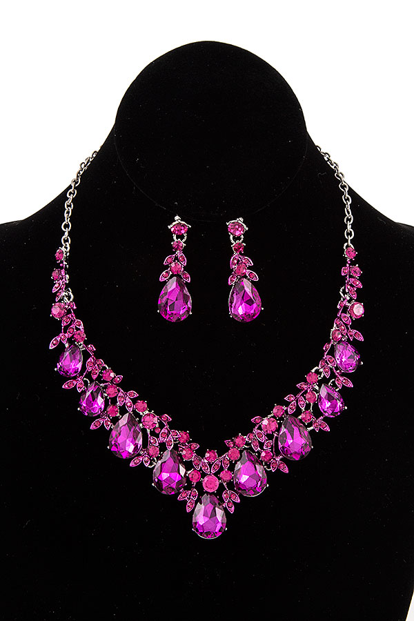 CRYSTAL GEM VINE ACCENT EVEINING NECKLACE SET
