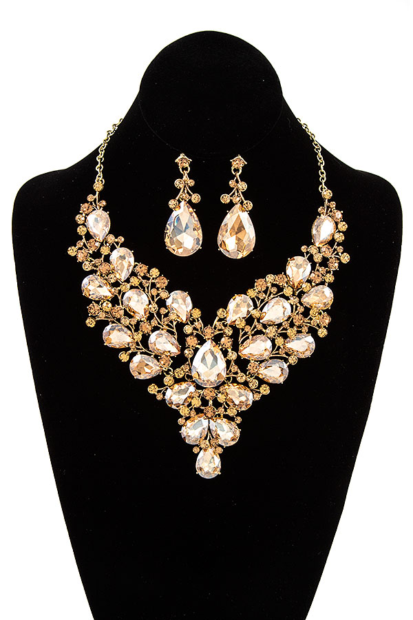 FACETED CRYSTAL GEM EVENING BIB NECKLACE SET