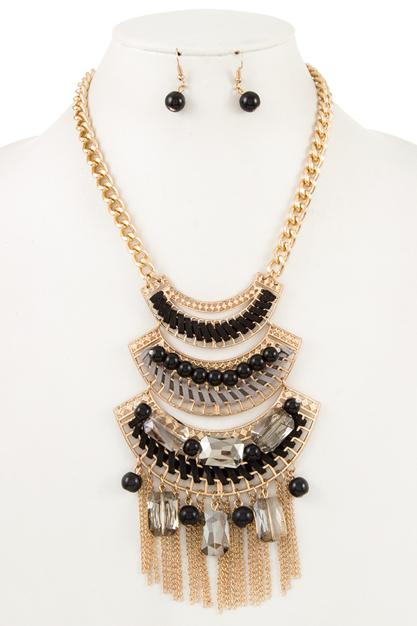 TIERED BEAD WRAP LINK CHAIN TASSEL NECKLACE SET
