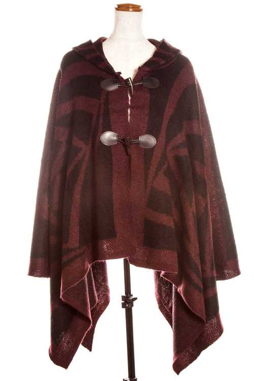 Mix Pattern Hooded Accent Toggle Closure Cape