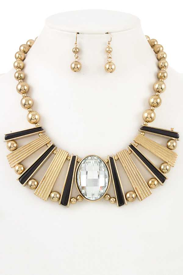 Bar with Ball  Oval Crystal Accent Bib Necklace Set