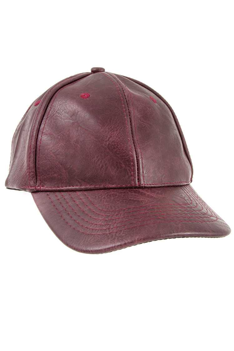 Faux Leather Baseball Cap
