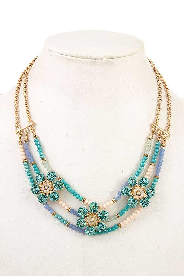 MULTI LINK BEAD AND FLORAL NECKLACE