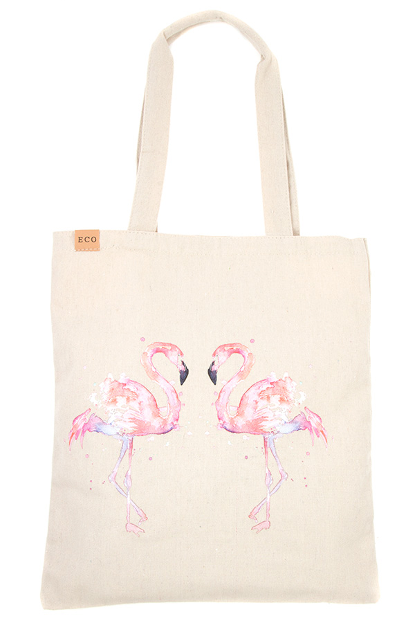 FLAMINGO LOVE PRINT ECO TOTE BAG