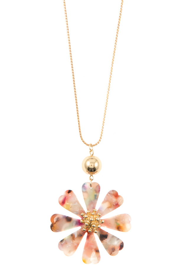 ACRYLIC FLORAL ADJUSTABLE LONG NECKLACE