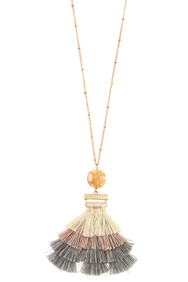 MULTI TASSEL ELONGATED NECKLACE