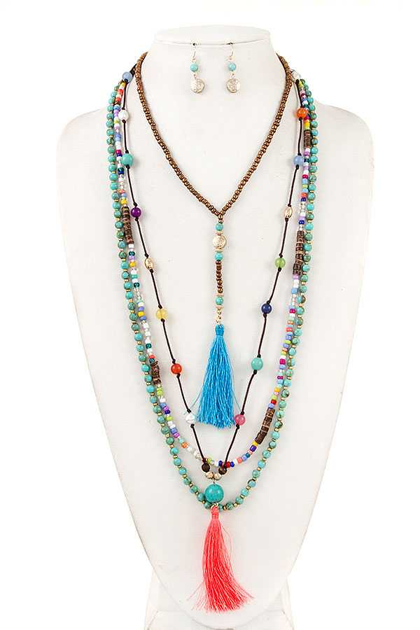 LAYERED MIX BEAD TASSEL NECKLACE SET