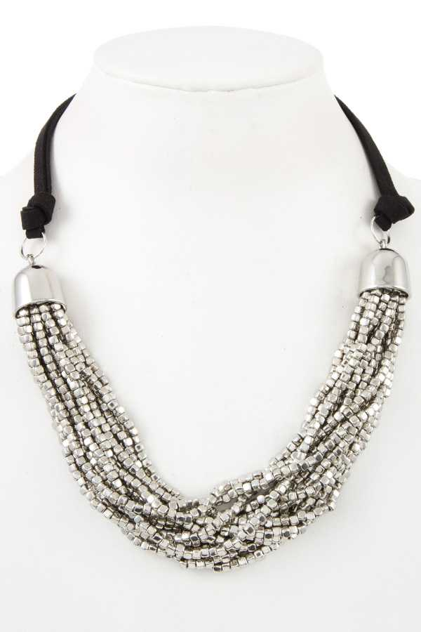 CUBIC BEAD MULTI STRAND BIB NECKLACE