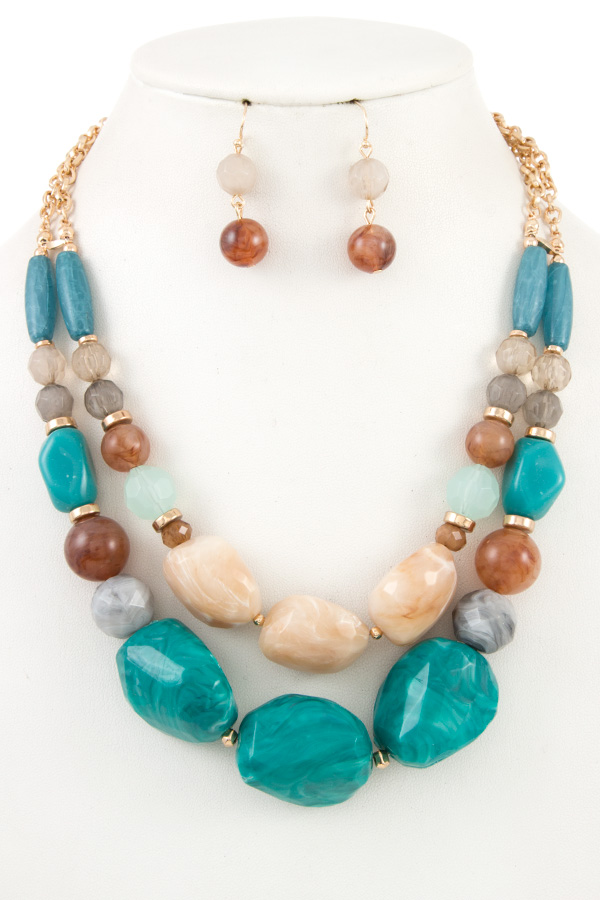 OVERSIZE STONE DOUBLE ROW NECKLACE SET