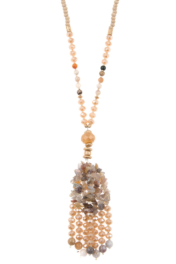 CLUSTER SEMI PRECIOUS STONE TASSEL LONG NECKLACE