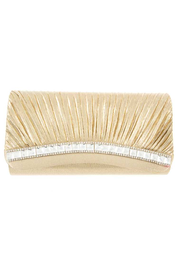 Ruched Crystal Rhinestone Accent Evening Clutch Bag