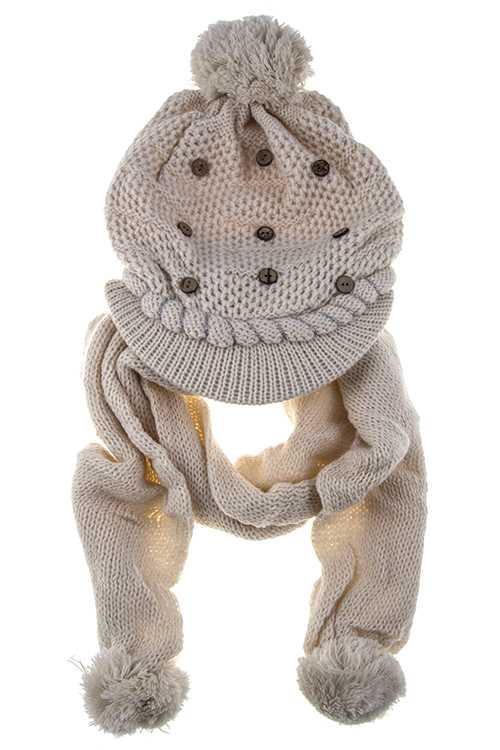 BUTTON ACCENT SCARF AND BEANIE SET