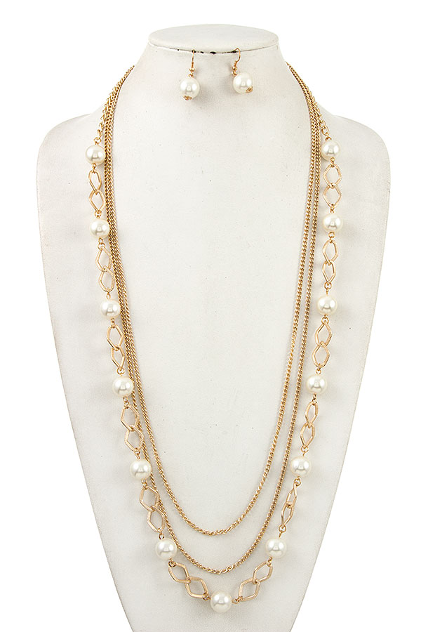 Multi Row Pearl Long Necklace Set