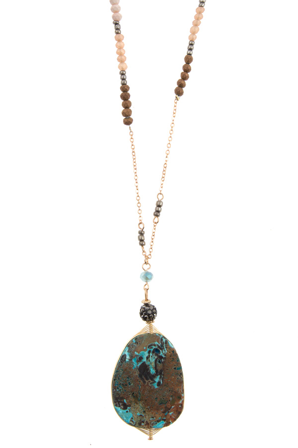 ELONGATED STONE PENDANT BEADED NECKLACE SET