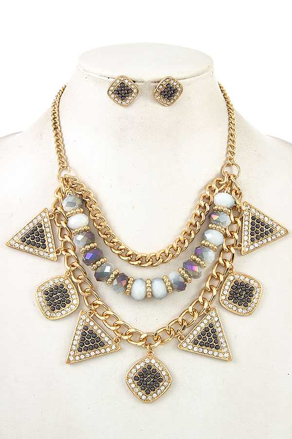 FACETED BEAD MULTI CHAIN NECKLACE SET