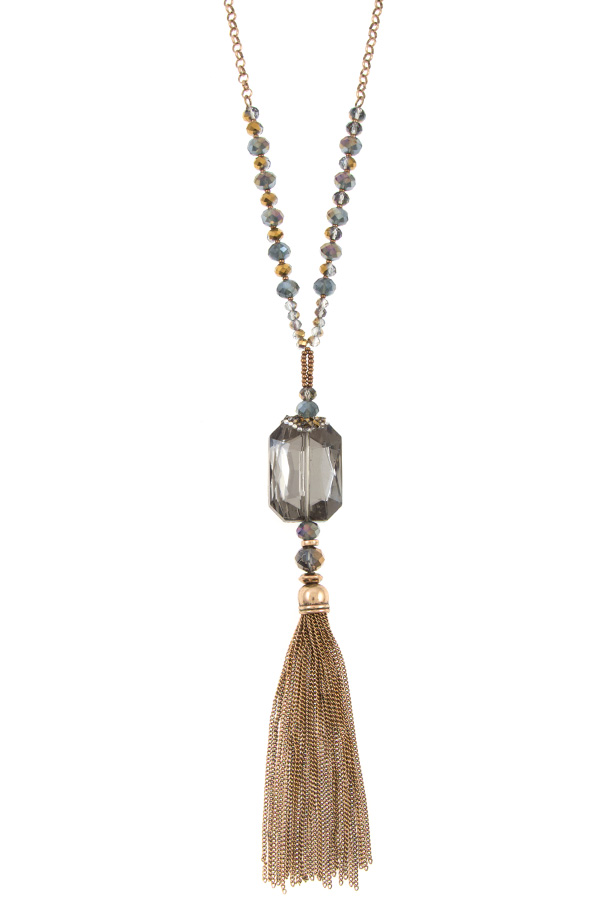 ELONGATED FACETED GEM CHAIN TASSEL NECKLACE SET