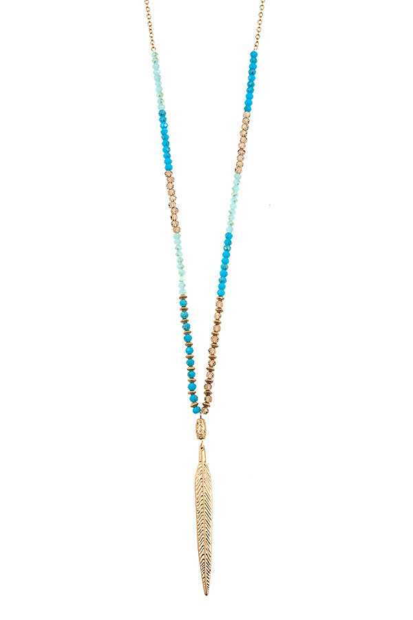 Elongated Bead Spike Pendant Necklace Set