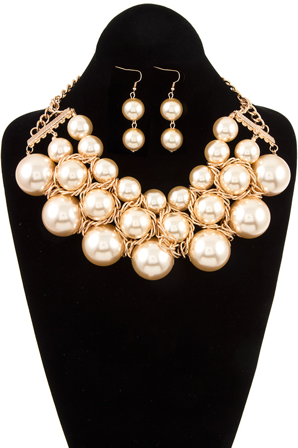 TRIPLE ROW FAUX PEARL COLLAR NECKLACE SET