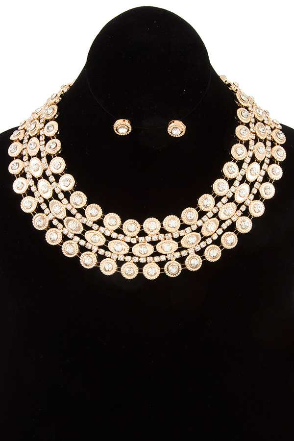 FACETED CRYSTAL GEM ORNATE STACK COLLAR NECKLACE SET