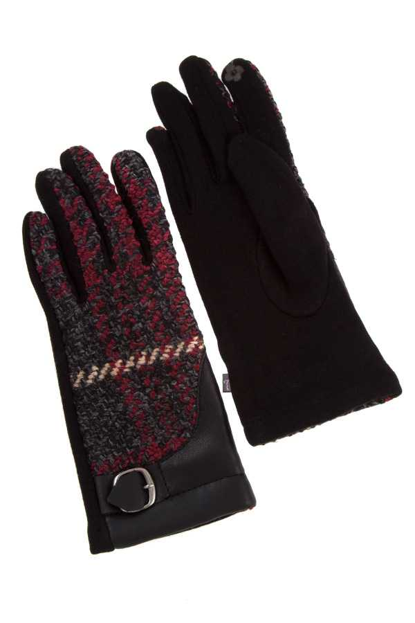 PLAID PATTERN BUCKLE ACCENT WINTER GLOVE