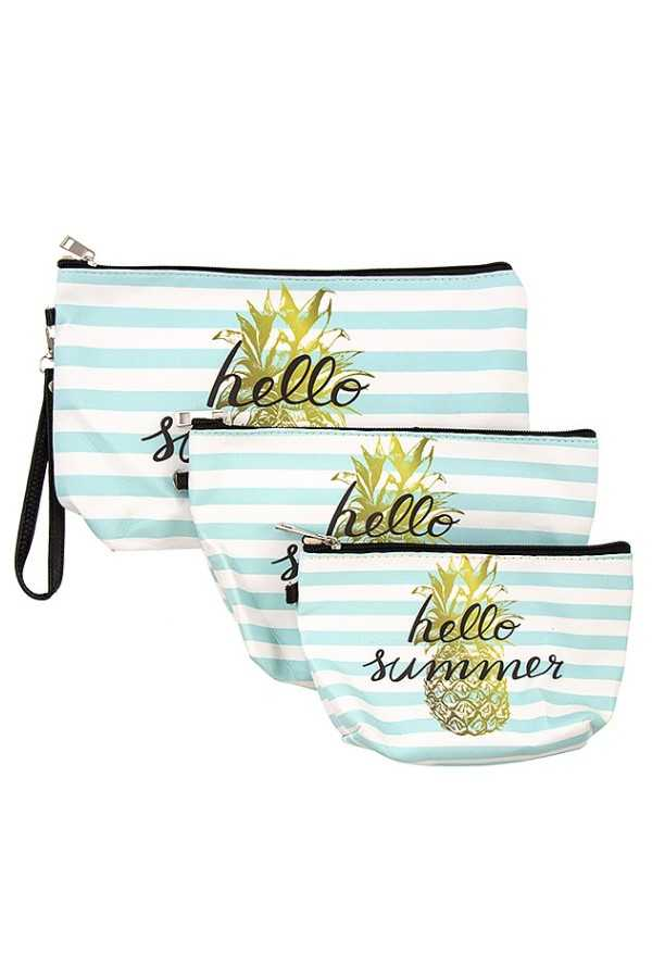 HELLO SUMMER STRIPE PRINT MINI POUCH BAG SET