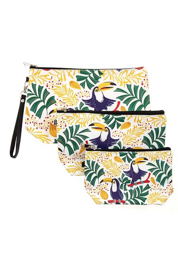 TROPICAL BIRD PRINT MINI POUCH BAG SET