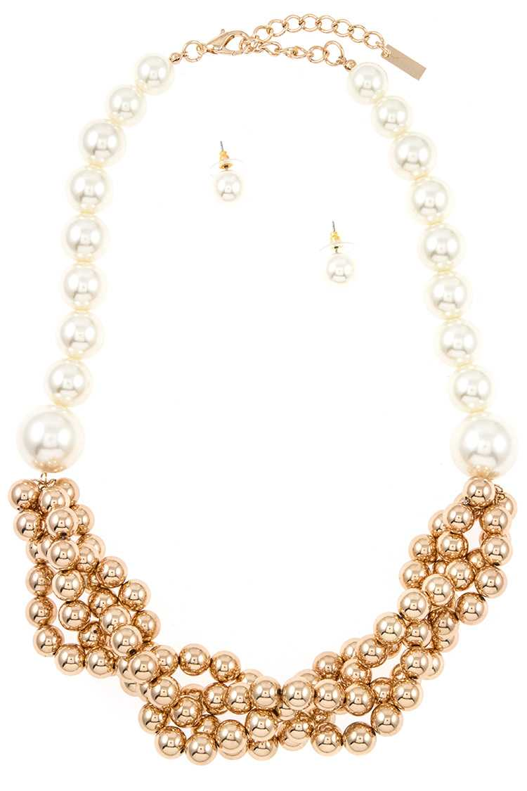 Intertwined Bead and Faux Pearl Necklace Set