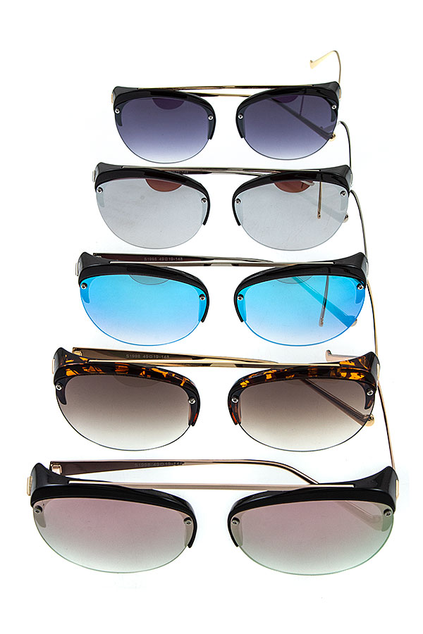 FASHIONABLE HALF FRAMED AVIATOR SUNGLASSES
