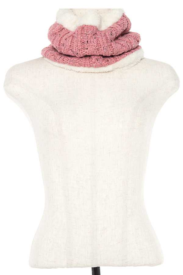 FLUFFY COLOR SPECK KNIT MULTIPURPOSE SCARF