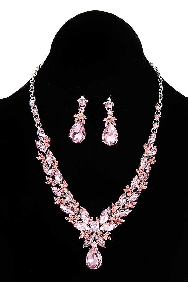 FACETED MARQUISE CRYSTAL GEM EVENING NECKLACE SET