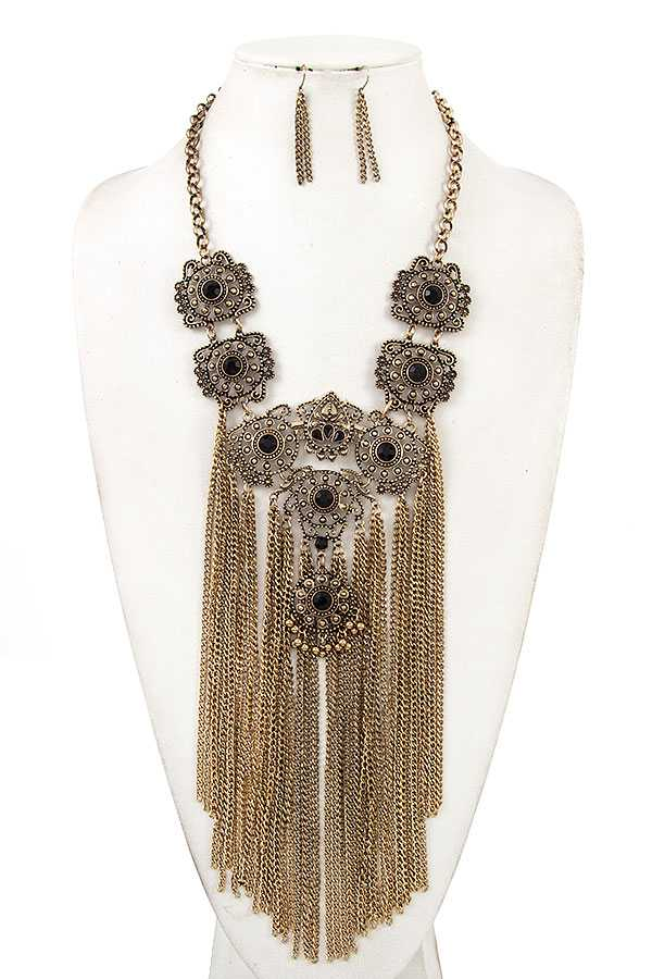ROUND GEM LINK CHAIN TASSEL BIB NECKLACE SET