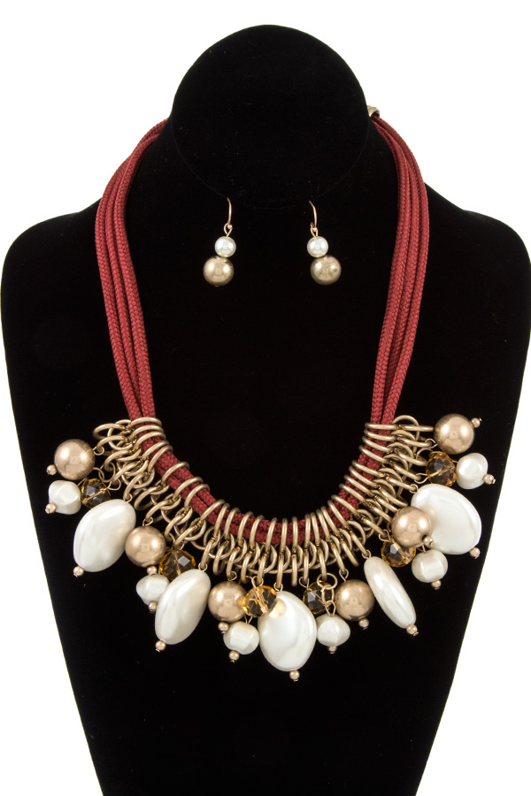 FAUX PEAR RING LINK BIB ROPE NECKLACE SET