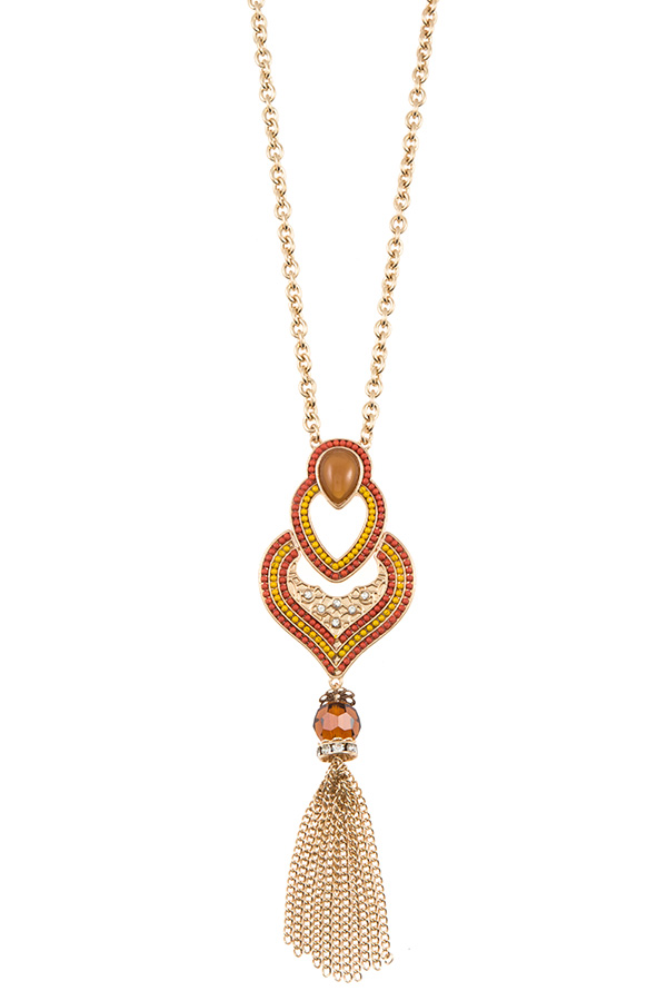 ELONGATED BALL BEAD ORNATE CHAIN TASSEL PENDANT NECKLACE SET