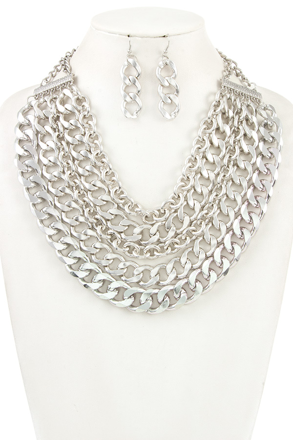 MULTI ROW CHAIN LIKE STATEMENT NECKLACE SET