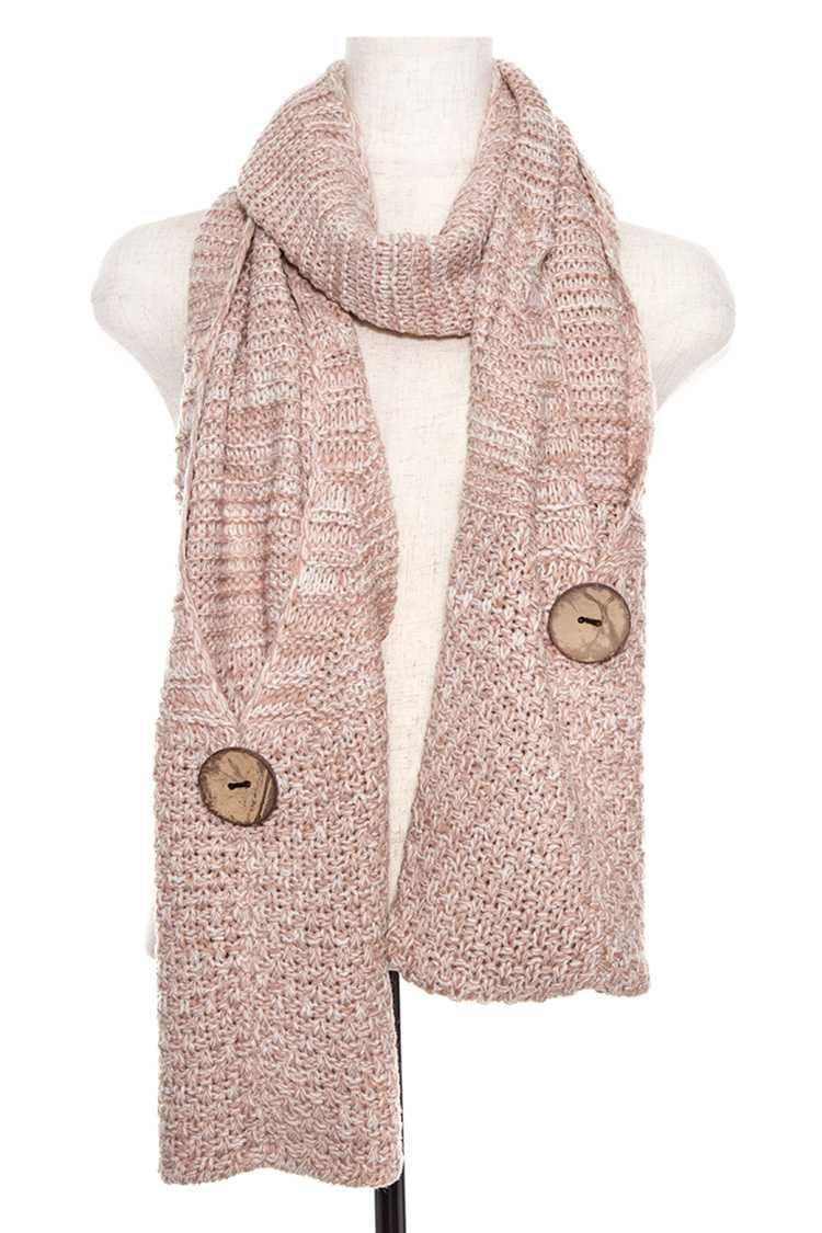 Knitted Two Tone Button Accent Oblong Pocket Scarf