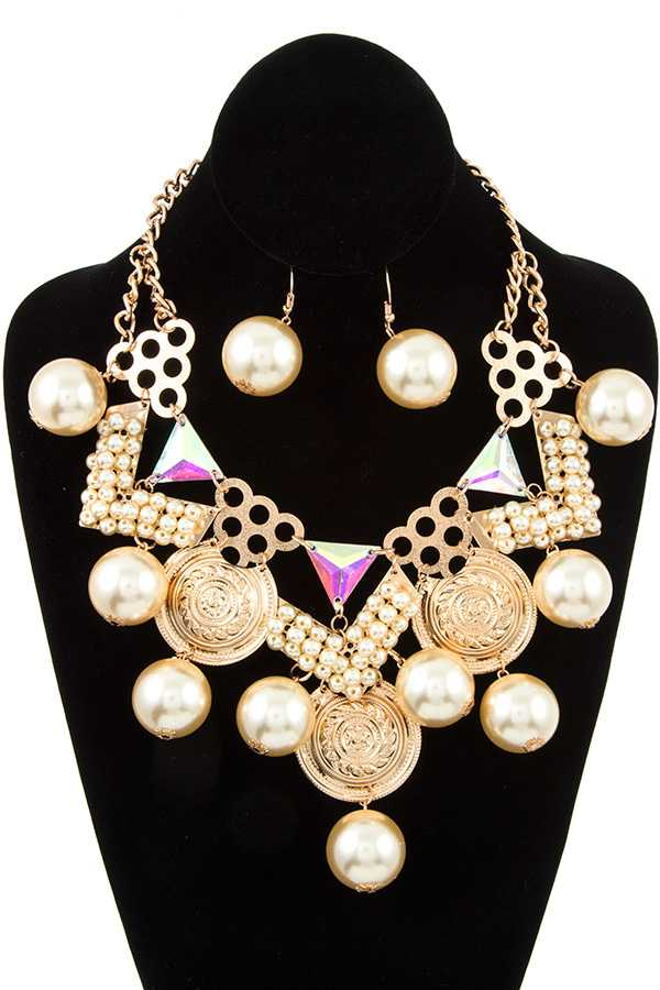 DANGLING PEARL STATEMENT NECKLACE SET