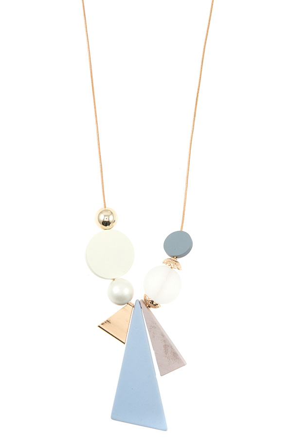 ELONGATED MIX SHAPE PENDANT NECKLACE