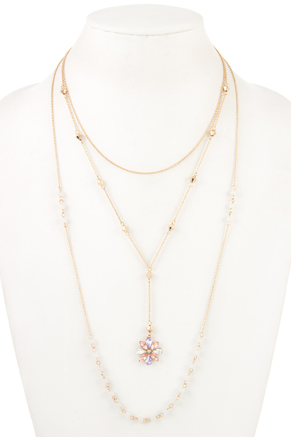 FLORAL GEM PENDANT LAYERED NECKLACE