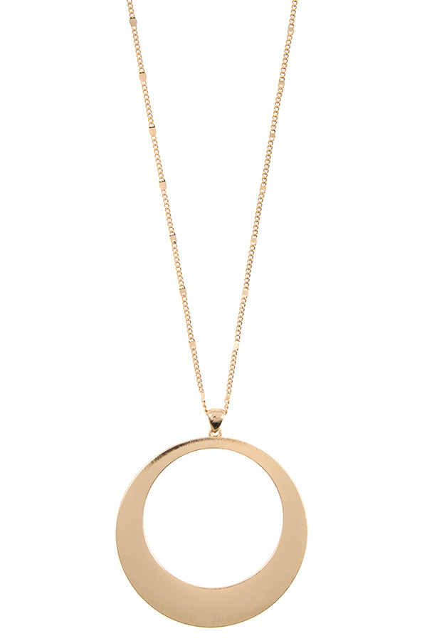 ELONGATED DROP ROUND PENDANT NECKLACE