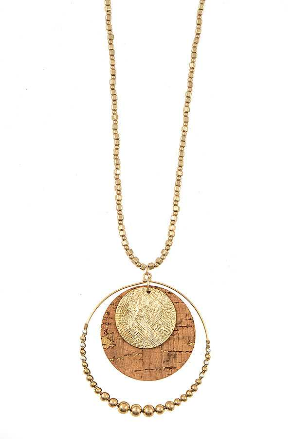CORCK CIRCLE BEADED DISK PENDANT NECKLACE