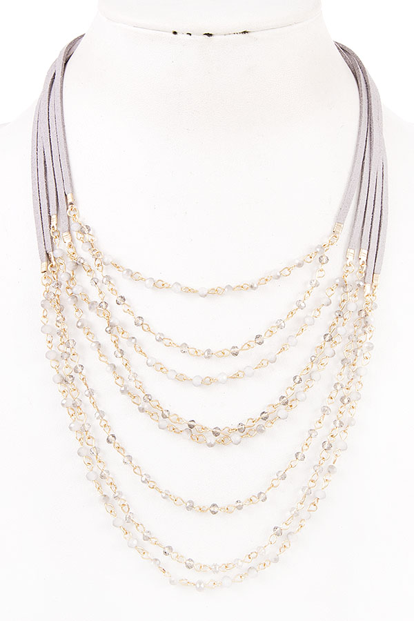 MULTI ROW GLASS BEAD BIB NECKLACE