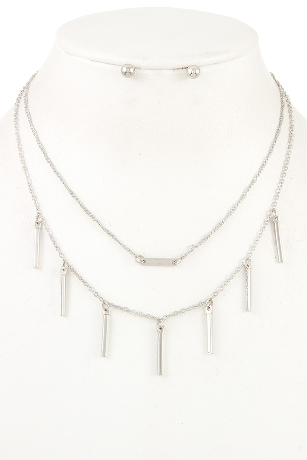 DOUBLE LAYERED BAR DANGLE NECKLACE SET