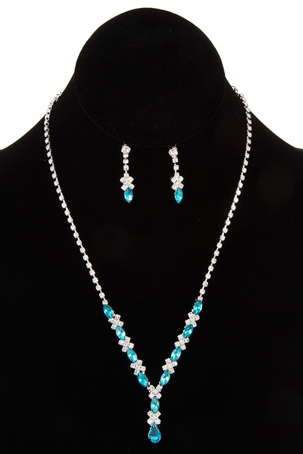 DAINTY MARQUISE LINK EVENING NECKLACE SET